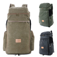 2014 Field Canvas Travel Men's Mountaineering Women's School Solid Softback Bag 56-75L Backpack Men Hiking Bags