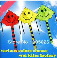 only 9.9$  high quality smiling face kite child kite nylon ripstop kite with handle line hello kitty chinese kite