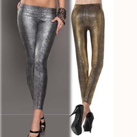EUROPEAN STYLE ELASTIC WAIST LACING LEATHER SNAKESKIN PRINT LEGGINGS STRETCH PANTS WF-45269