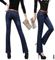 2014 New Arrival Women Sexy Fall Slim Mid Waist Jeans Female Demin Full Length Flare Jeans