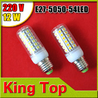 4PCS/LOT 220V E27-5050-54LED Garden Use,LED Spot light E27 12W 5050 SMD 54 LEDs Corn Bulb Light Corn Light E27 Free Shipping