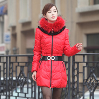 2013 women's medium-long down coat slim artificial fur down coat Jackets Down & Parkas thick women clothes