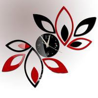 Fashion wall clock mirror decoration wall clock personalized diy mirror attached Leaves mirrored wall clock modern design