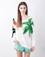 Autumn and Winter starling palm print bohemian beach style women's knitted sweater