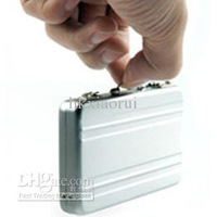 Mini Briefcase Business Credit Card Holder, Classic Aluminum Briefcase Design Name Card Holder
