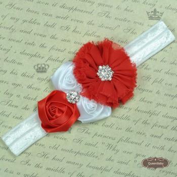 120pcs/lot NEW Rhinestone Girl Chiffon Flowers With Triple mini rose With Satin Ribbon Flower Baby Headbands