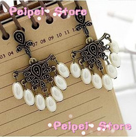 Luxury retro jewelry New arrival gorgeous vintage royal drop pearl earrings earring free shipping