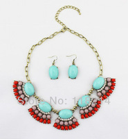 Free shipping Hot Sale Fashion Resin Ball Jewelry Set Vintage Statement Necklace/Earrings DJS086