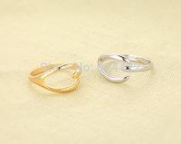 Fashion Gold/Silver/Black Jewelry Cute Wishbone Ring Size 7.5 Free Shipping
