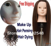 """Female 90% Real hair 22"""" Hair Hairdressing Mannequin Head Brown hair can dry/can curls/marcel/dye for practice performance"""