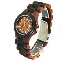 Free Shipping Fashion Os.Dandon Men Vintage Watches Wooden Analog Wrist Watch Black Bezel & Case Men Watch Calendar Display