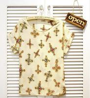 #NTX0170 Free Shipping Fashion Women O-Neck Print Chiffon T Shirt Short Sleeve Loose Top Tees Shirt For Lady