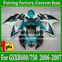 Injection molding fairings 2006 2007 SUZUKI K6 GSXR 600 GSXR 750 06 07 GSX-R600 R750 white black  light blue fairing kit