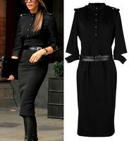 Celebrity Victoria Beckham Fashion 2014 Autumn Women's Dress Mid-Calf Black Bodycon Plus Size XXL Dresses With Belt