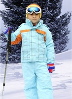 Child ski suit set outdoor jacket bib pants skiing clothing