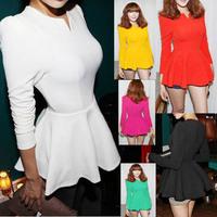 Free shipping New Fashion New Tops Blouse,Women Zipper Back Puff  V collar Sleeve Stand Empire Waist Cute Shirt Dress