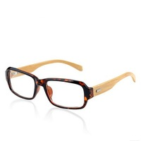 Handmade Bamboo Glasses Frame Vintage Oversize Bamboo Full Fram Lenses Plain Mirror With Box Tiger