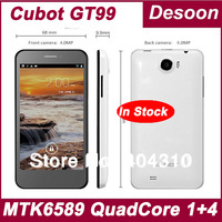 Free Shipping Original Cubot GT99 Phone Quad Core MTK6589 1.2GHz 4.5Inch IPS HD 1280*720p Screen 13.0Mp Camera Russian / Koccis