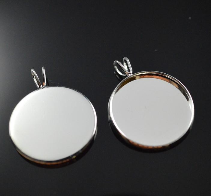 Free shipping 200pcs silver plated round brass Pendant setting, cabochon settings, tray blank at 18mm round(China (Mainland))