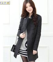 2013 autumn and winter outerwear women's slim double breasted woolen outerwear long design plus size woolen overcoat