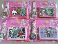 Free shipping 10pcs Monster High cartoon wallet New girl's watches and kids lovely children purse girl Wristwatch