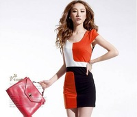 Korean ladies temperament hit the color Slim sexy vest dress Sleeveless Luxury hit color Puff Sleeve Blue,Orange,Red MINI Dress