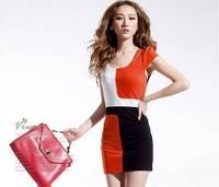 Korean ladies temperament hit the color Slim sexy vest dress Sleeveless Luxury hit color Puff Sleeve Blue,Orange,Red MINI Dress