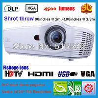 Top quality !! 4500lumens XGA Full HD short throw DLP projector,active shutter dlp 3D projector free shipping !!