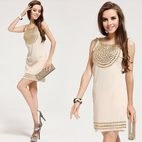 Free Shipping high quality elegant gem slim hem gem tank dress noble party dresses beige  LM6012