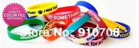 2014 500pcs/lot /Custom Debossed & color filled logo/silicone bracelets/promotion gift wirstbands/  band FEDEX free shipping