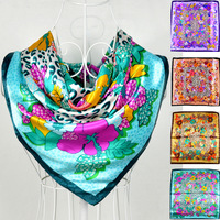 2014 Wholesale Women Silk Square Scarf  Paisley Pattern Large Square Silk Scarf 90*90cm Green Polyester Scarf Shawl Printed
