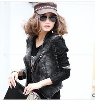 M/L/XL free shipping 2013 Europe and America high-end women's motorcycle jacket for women PU leather stitching denim
