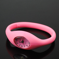 Men Women Students' Mini Style Analog Quartz Silicone Bracelet Wrist Watch pink pink