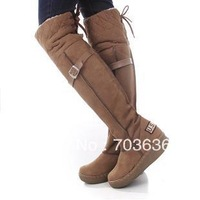 Free Shopping New 2014 Women Winter Boots Flat Heel Knee High Snow Boots Buckle Decoration Fashion Warm Leather Shoes