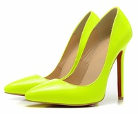 New fashion sexy high heels platform pumps patent leather women brand red bottom shoes 12cm heels 8 candy colors