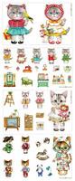 Free Shipping Linen Cotton Fabrics Lovely Rummi Cats Zakka Style 140cm*40cm Handmade DIY fabric linen fabric