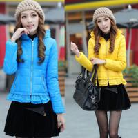 Short design winter wadded jacket lace decoration slim hooded wadded jacket cotton-padded jacket