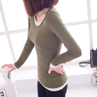 2013 Korean version of the new women's spring and autumn long-sleeved round neck T-shirt wholesale Slim Women Clothes