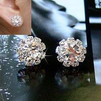 E123 Korean simple stylish Crystal shining zircon stud earrings sunflowers jewelry 4pair