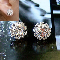 (Minimum order $ 10) E123 Korean simple stylish Crystal shining zircon stud earrings sunflowers jewelry 6pcs=3pair