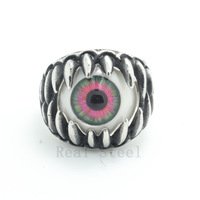 Hot Selling!! Unique Design Mutil-color Ring Charm Colorful Eyes Ball Stainless Steel Monster Sharp Mouth Tooth Punk Party Ring