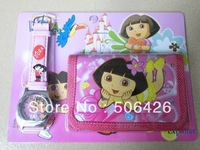New Free shipping 1pcs Cartoon Dora girl's love Watches And 1pcs Wallet Drop shipping xmas gift