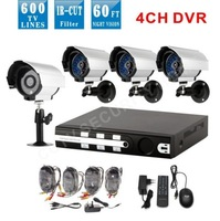 Home 4CH CCTV DVR Recorder  Day Night Waterproof Security Surveillance Video System 4ch Kit for 600tvl CCTV Camera D1 DVR  kit