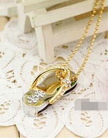 Wholesale Hot Cheap Enough Crystal sandals+Chain 4GB USB 2.0 Flash Memory Stick Drive Thumb/Car/Pen Gift