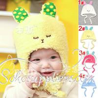 Lovely Rabbit Baby Hats Infant Kids Winter Fleece Hats Super Soft Children Winter Earflap Hats 10pc Free Shipping MZD-046