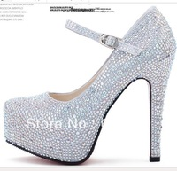 NEW 2013 Wedding shoes high heel rhinestone sexy small and big wedding crystal shoes ,free shipping