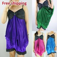 Free Shipping 4Color Women Nightdress condole belt Club Wear Dress Lady Sexy Lingerie Womens Lady Faux Silk Pajamas Nightgown