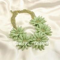 Fashion accessories pastel green handmade flower necklace 130901