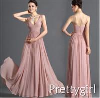 ZJ0023 two shoulder v neck maxi light blue baby pink chiffon formal prom gown evening beautiful long 2013 plus size women ruffle