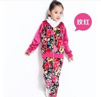 Medium-large girls clothing 2013 flower velvet sport suit hooded coat+pants 2pcs autumn children Suit kids autumn clothing girls